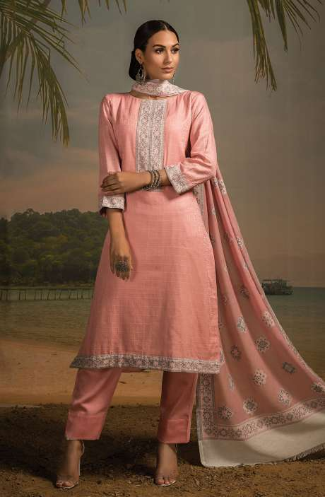 Cotton Jacquard Unstitched Salwar Kameez In Pink - LEH2258