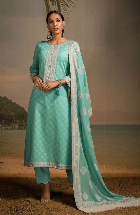 Cotton Jacquard Unstitched Salwar Kameez In Turquoise - LEH2259