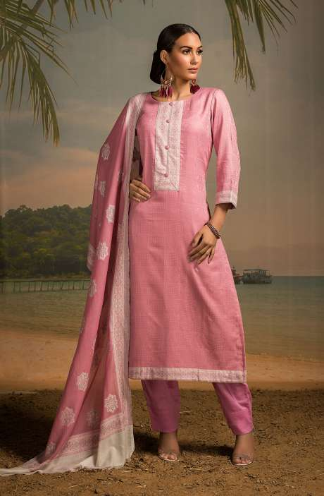Cotton Jacquard Unstitched Salwar Kameez In Pink - LEH2261
