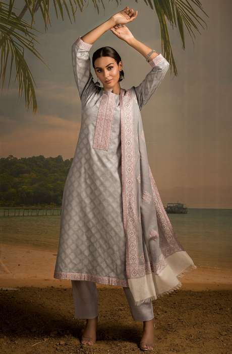 Cotton Jacquard Unstitched Salwar Kameez In Grey - LEH2264