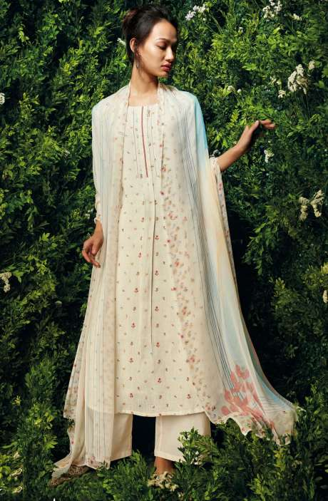 Beautiful Floral Digital Printed Cotton Salwar Suit with Dupatta In Cream - LET7441