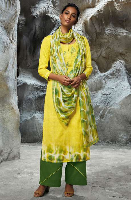 Modal Satin Printed with Embroidery Salwar Kameez In Lemon Yellow - LIL7746