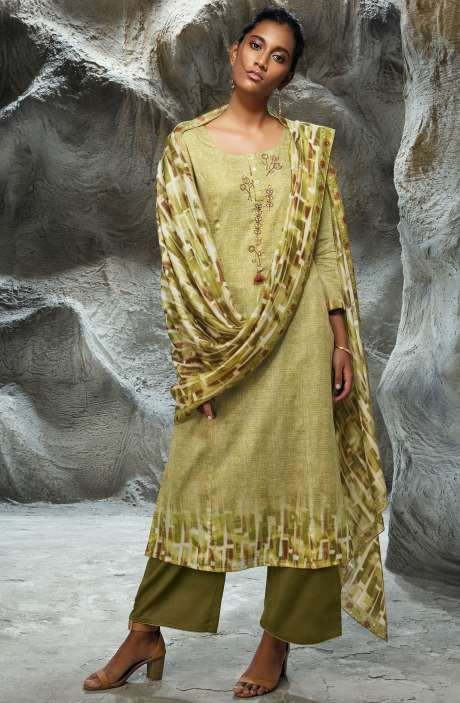 Modal Satin Printed with Embroidery Salwar Kameez In Green - LIL7747