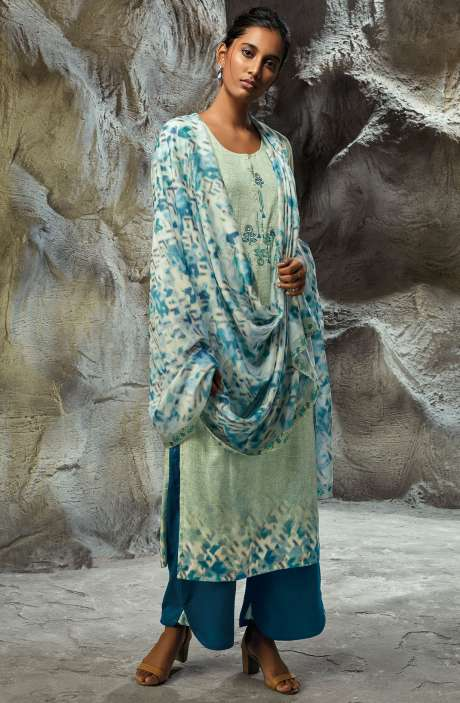 Modal Satin Printed with Embroidery Salwar Kameez In Sea Green - LIL7748R