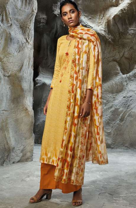 Modal Satin Printed with Embroidery Salwar Kameez In Mustard - LIL7749