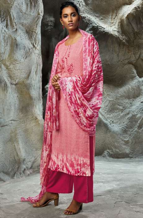Modal Satin Printed with Embroidery Salwar Kameez In Pink - LIL7750