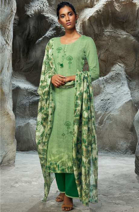 Modal Satin Printed with Embroidery Salwar Suit In Green - LIL7751