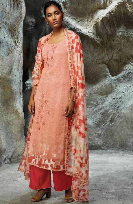 Modal Satin Printed with Embroidery Salwar Kameez In Peach - LIL7752