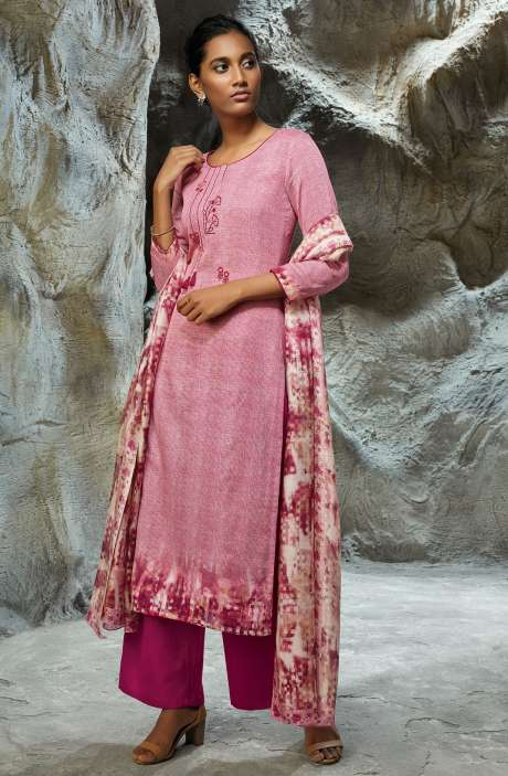 Modal Satin Printed with Embroidery Salwar Kameez In Pink - LIL7754