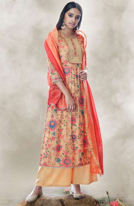 Chanderi Cotton Digital Printed Salwar Suit with Zari Lace Work In Beige - LOT7510