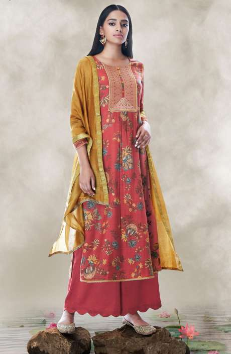 Chanderi Cotton Digital Printed Salwar Suit with Zari Lace Work In Red - LOT7511