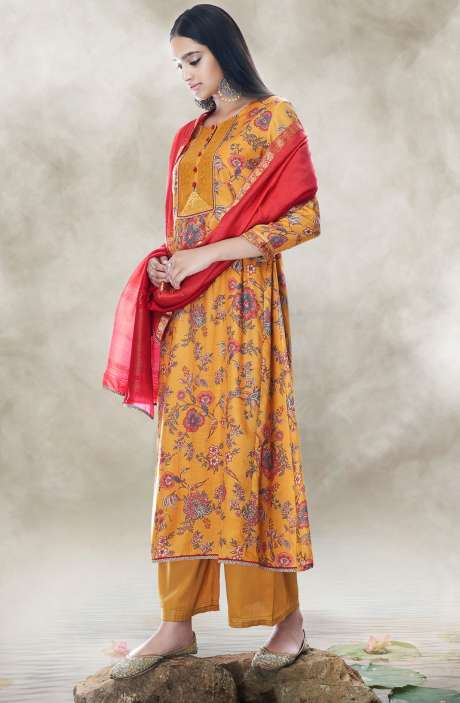 ce8b88903 TACFAB Chanderi Cotton Digital Printed Salwar Suit with Zari Lace Work In  Mustard - LOT7515