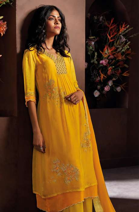 Chanderi Silk Beautiful Embroidered Salwar Kameez In Mustard with Chiffon Dupatta - LUC8326