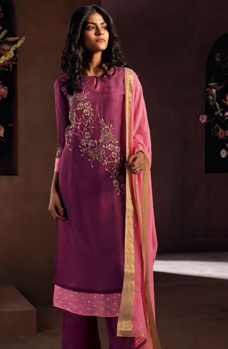 Chanderi Silk Beautiful Embroidered Salwar Kameez In Wine with Chiffon Dupatta - LUC8329