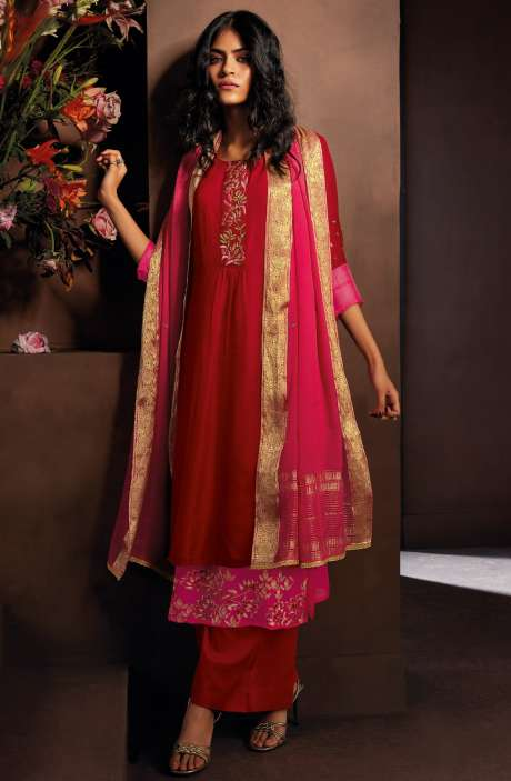 Chanderi Silk Beautiful Embroidered Salwar Kameez In Maroon with Chiffon Dupatta - LUC8330