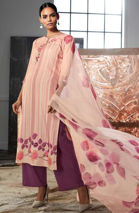 Cotton Satin Digital Printed Cream & Purple Unstitched Salwar Kameez with Embroidery & Hand  Work - LUE7807