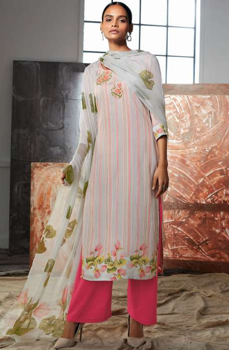 Cotton Satin Digital Printed Multi-coloured Unstitched Salwar Kameez with Embroidery & Hand  Work - LUE7808