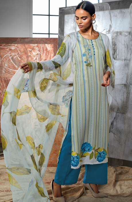Cotton Satin Digital Printed Multi-coloured Ready-to-Stitch Salwar Kameez with Embroidery & Hand  Work - LUE7813