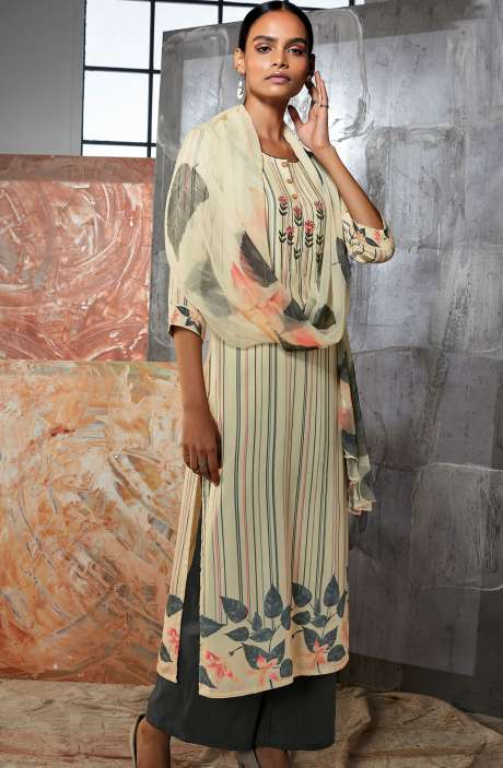 Cotton Satin Digital Printed Multi-coloured Unstitched Suit with Embroidery & Hand  Work - LUE7814