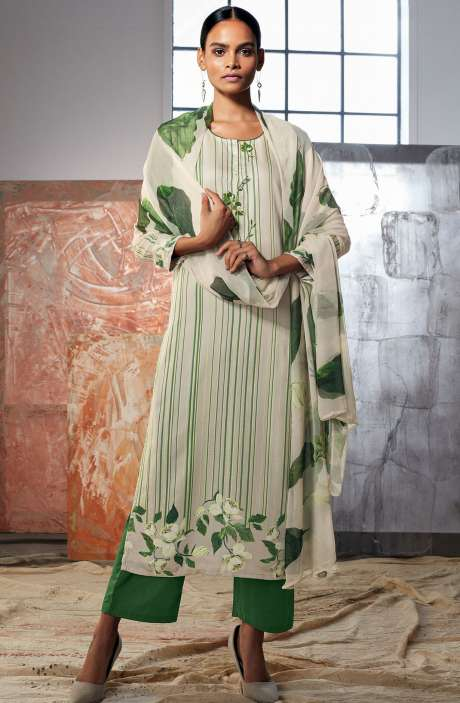 Cotton Satin Digital Printed Cream & Green Ready-to-Stitch Salwar Kameez with Embroidery & Hand  Work - LUE7815