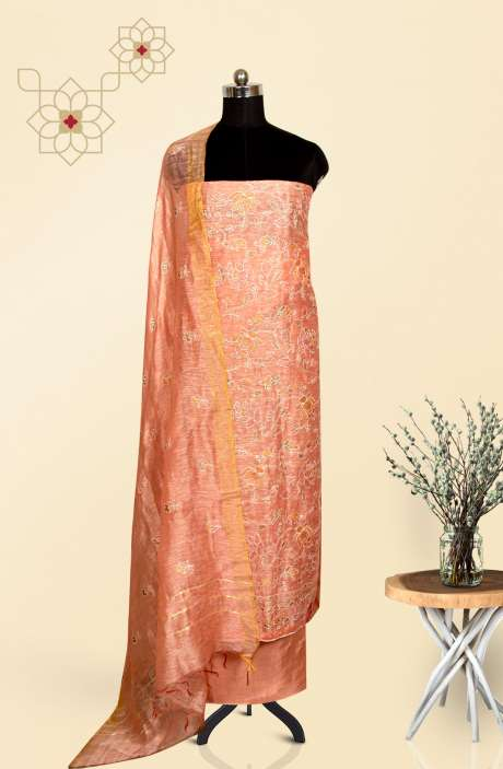 Chanderi Beautiful Embroidered Salwar Suit In Peach - LV-US3185D