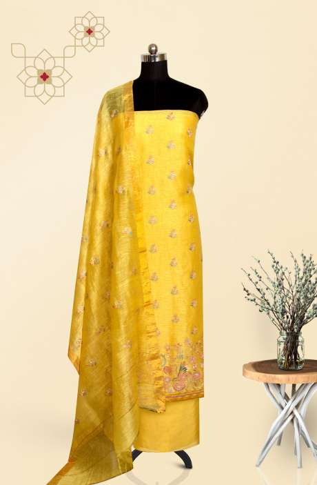 Chanderi Beautiful Embroidered Salwar Suit In Yellow - LV-US3703B