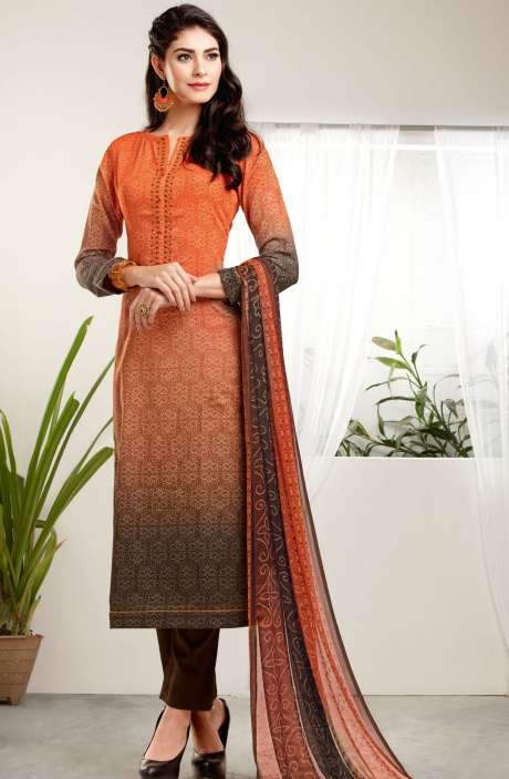 Modal Cotton Digital Print with Embroidered Salwar Kameez In Orange and Brown - MAA241