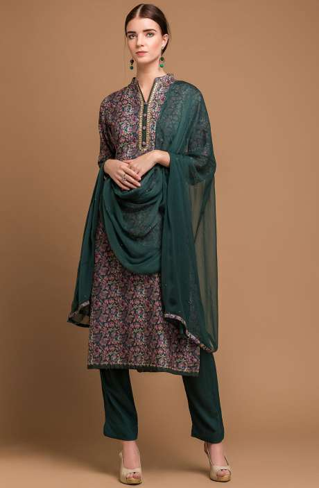 Pashmina Wool Digital Print Multi and Bottle Green Exclusive Salwar Suit with Fancy Dupatta - MAA2701