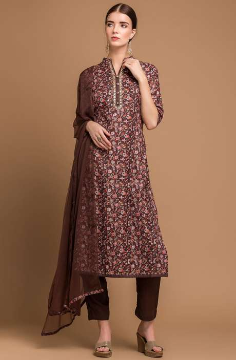 Pashmina Wool Digital Print Multi and Coffee Brown Exclusive Salwar Suit with Fancy Dupatta - MAA2702