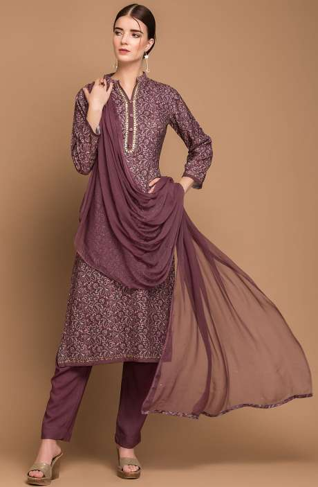Pashmina Wool Digital Print Purple and Black Exclusive Salwar Suit with Fancy Dupatta - MAA2703