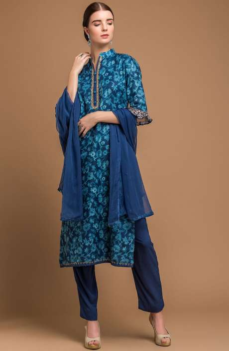 Pashmina Wool Digital Print Blue Exclusive Salwar Suit with Fancy Dupatta - MAA2704