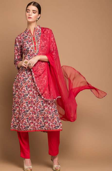 Pashmina Wool Digital Print Multi and Red Exclusive Salwar Suit with Fancy Dupatta - MAA2705