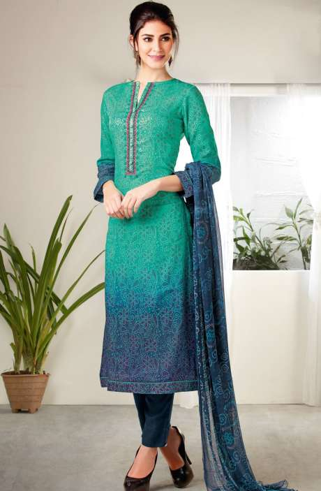Modal Cotton Digital Print with Embroidered Salwar Kameez In Green and Blue - MAA288