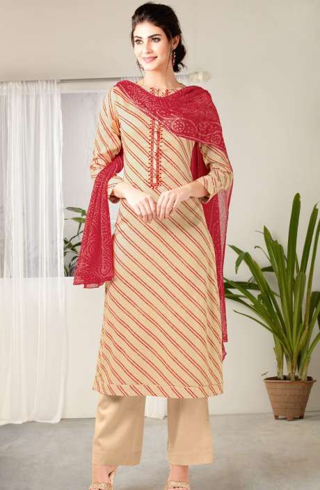 Modal Cotton Digital Print with Embroidered Salwar Kameez In Cream and Red - MAA291