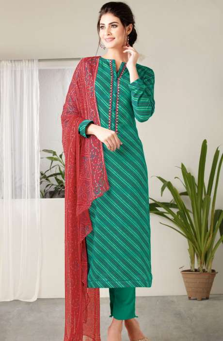 Modal Cotton Digital Print with Embroidered Salwar Kameez In Green - MAA299