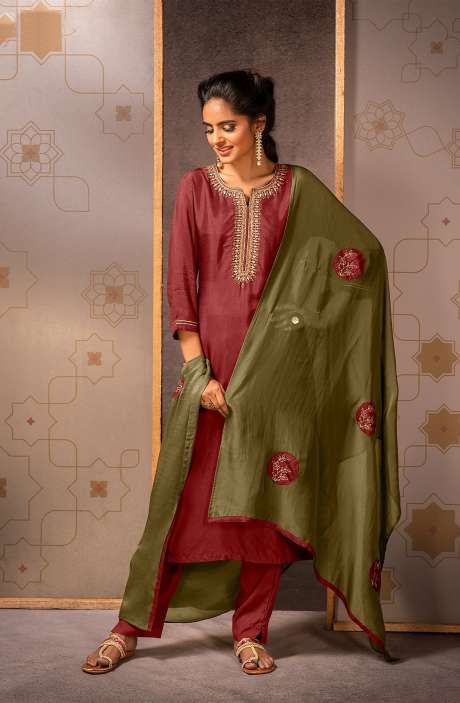 Beautiful Semi-stitched Muslin Silk Salwar Suit In Maroon - MAD8450