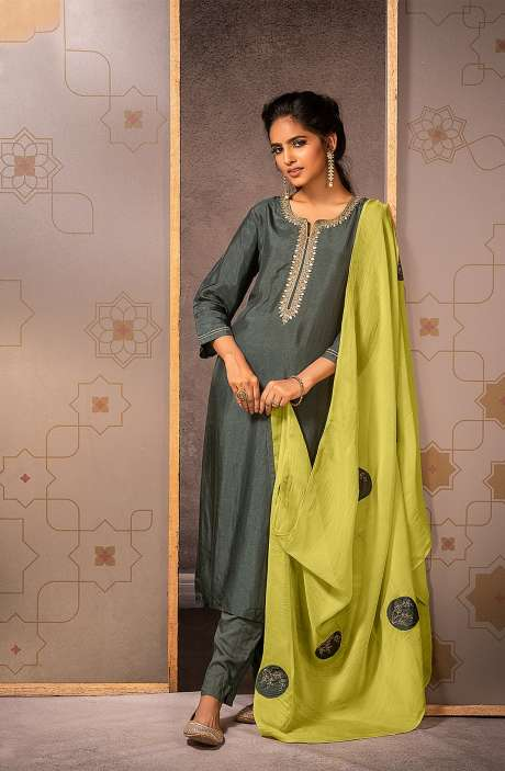 Beautiful Semi-stitched Muslin Silk Salwar Suit In Olive Green - MAD8451
