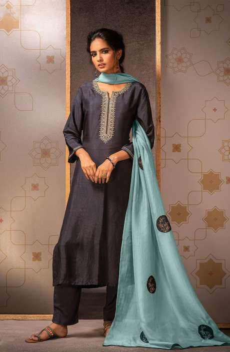 Beautiful Semi-stitched Muslin Silk Salwar Suit In Dark Grey - MAD8452