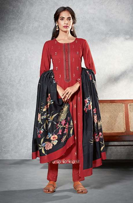 Pashmina Digital Printed Unstitched Salwar Kameez In Rust - MAH525