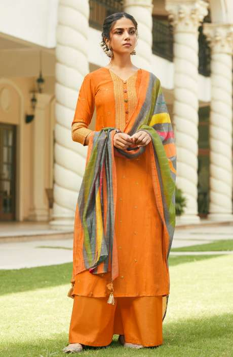 Beautiful Russian Silk Mukaish Work Salwar Kameez In Orange with Fancy Muslin Silk Dupatta - MAH5607