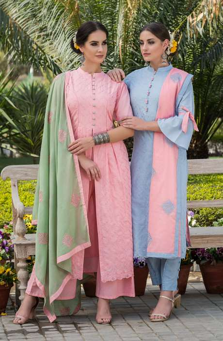 Exclusive Cotton Embroidery Baby Pink Salwar Kameez with Green Dupatta - MAI1676A