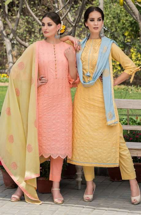 Exclusive Cotton Embroidery Yellow Salwar Kameez with Blue Dupatta - MAI1677B