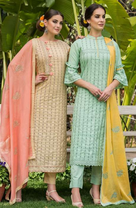 Exclusive Cotton Embroidery Mint Green Salwar Kameez with Yellow Dupatta - MAI1679B