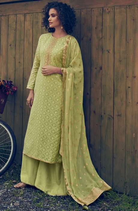 Designer Chanderi Zari Jacquard Salwar Suit Sets In Lime - MAI41