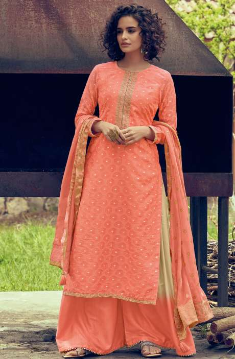 Designer Chanderi Zari Jacquard Salwar Suit Sets In Peach - MAI42
