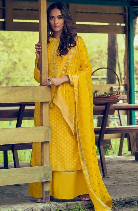 Designer Chanderi Zari Jacquard Salwar Suit Sets In Yellow - MAI44