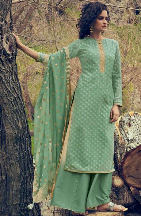 Designer Chanderi Zari Jacquard Salwar Suit Sets In Green - MAI46