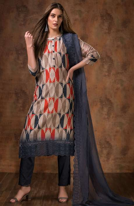 Exclusive Designer Digital Printed Chanderi Salwar Kameez in Multi & Greyish Blue - MAI5113