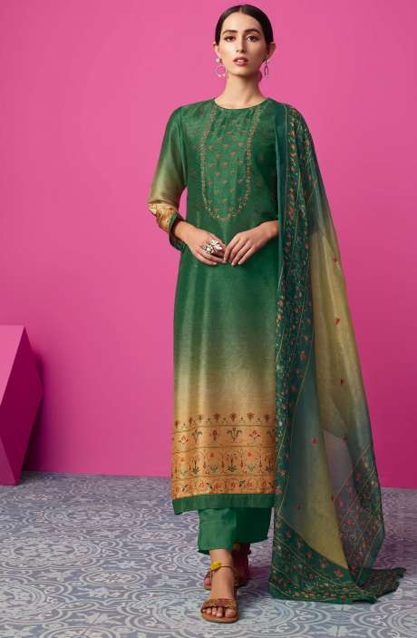 Chanderi Silk Digital Print with Embellished Work Green & Orange Salwar Suit Sets - MAI515