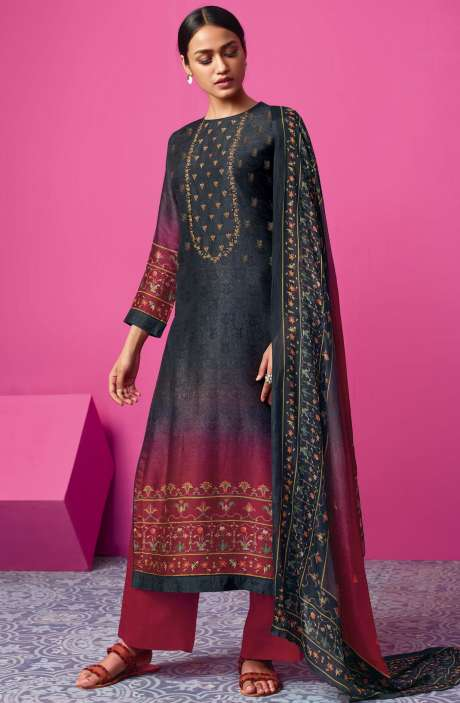 Chanderi Silk Digital Print with Embellished Work Black & Maroon Salwar Suit Sets - MAI525